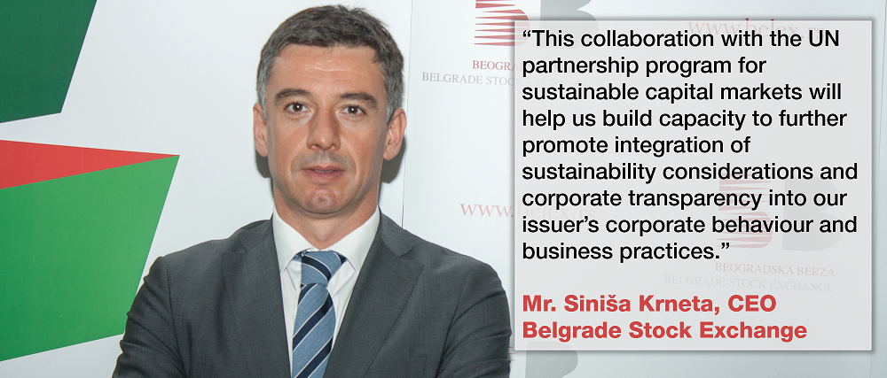 Belgrade Stock Exchange commits to Sustainability with UN initiative