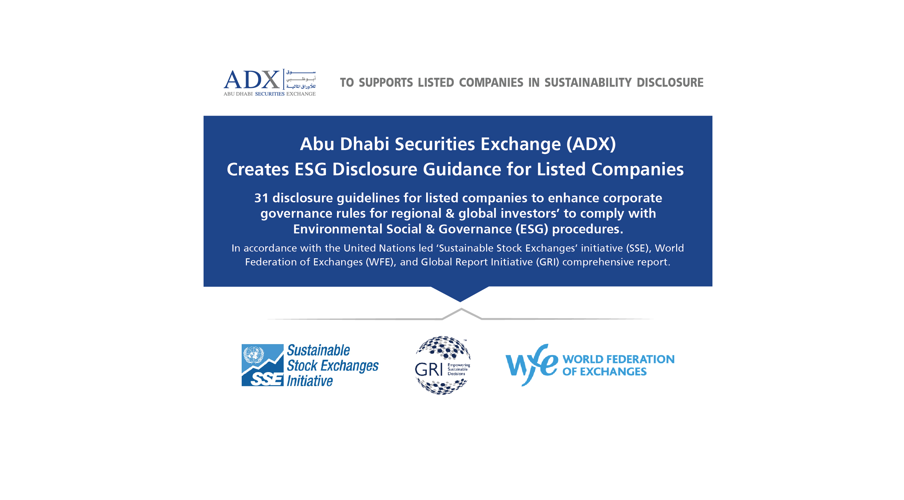 Abu Dhabi Securities Exchange creates environmental, social & governance (ESG) disclosure guidance for listed companies